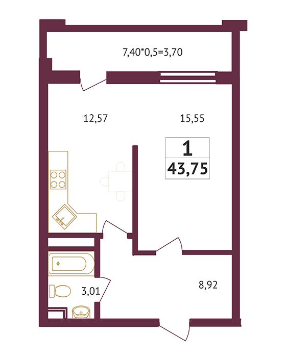 Студия - 43,75 кв. метров