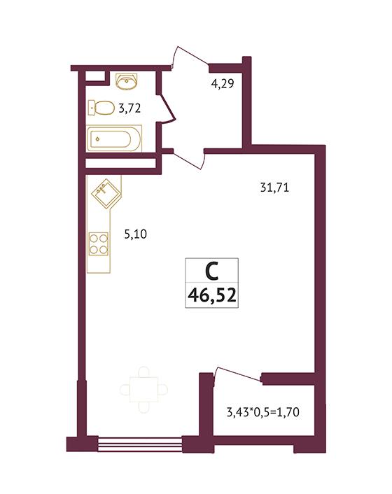 Студия - 46,52 кв. метров