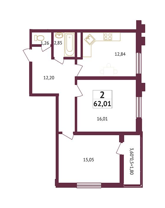 Студия - 62,01 кв. метров