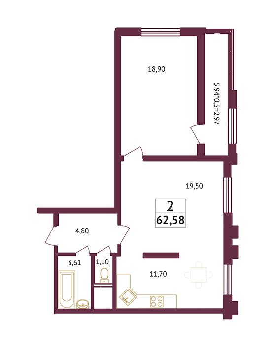 Студия - 62,58 кв. метров