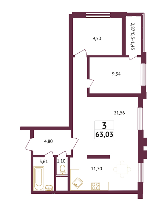 Студия - 63,03 кв. метров