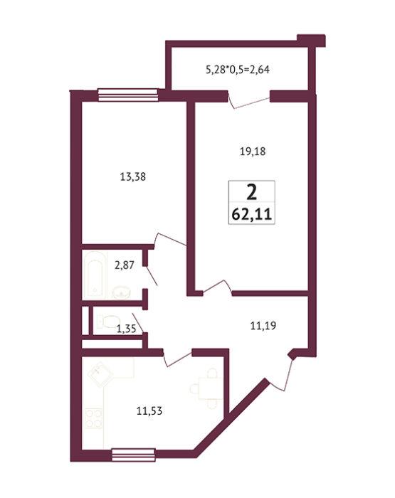 Студия - 62,11 кв. метров