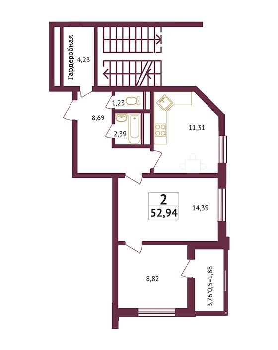 Студия - 52,94 кв. метров